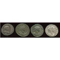 Aurelian (270-275AD) & Related Group. Billon Antoninianus. Lot of 4