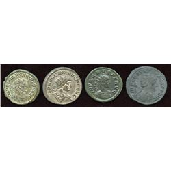 Late 3rd Century Emperors. Billon Antoninianus. Lot of 4