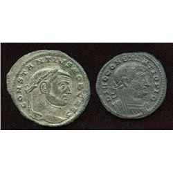 Constantius I. AE Follis. Lot of 2