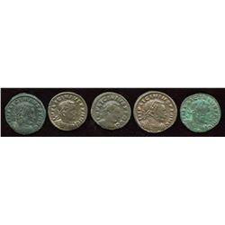 Licinius. 308-324 AD. London Mint Group. AE Follis. Lot of 5