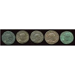 Licinius. 308-324 AD. London Mint Group. AE Follis. Lot of 5