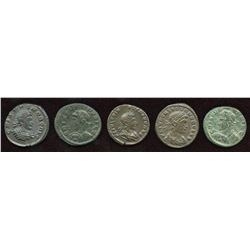 Crispus. 316-326 AD. London Mint Group. AE Follis. Lot of 5