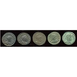 Crispus. 316-326 AD. London Mint Group. AE Follis. Lot of 5