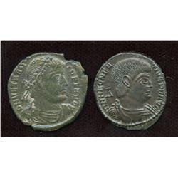Vetranio (350 AD) & Magnentius (350-353 AD). AE Centenionalis. Lot of 2