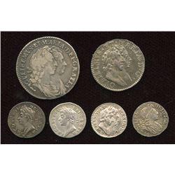 England. James II & William III. Lot of 6