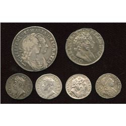 England. James II & William III. Lot of 6