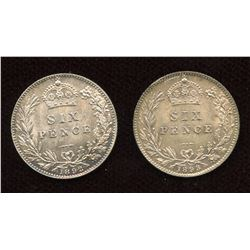 Great Britain. Six Pence, 1892 & 1893
