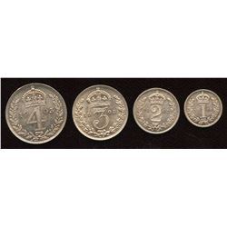 Great Britain. Edward VII 1901-1910. Maundy Set.