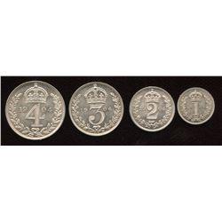 Great Britain. Edward VII 1901-1910. Maundy Set.
