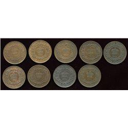 New Brunswick Large Cents. Lot of 9