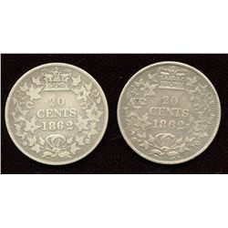 1862 New Brunswick Twenty Cents. Lot of 2