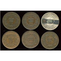 Nova Scotia One Cent. Lot of 6