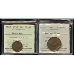1936 & 1940 Newfoundland One Cent Pair
