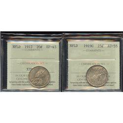 1912 Newfoundland 20 Cents & 1919C Twenty-Five Cents
