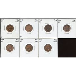 Canadian Proof Like One Cents - Lot of 7