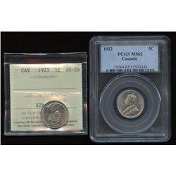 1922 & 1923 Five Cents
