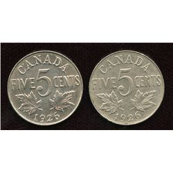 1926 Five Cents - Lot of 2