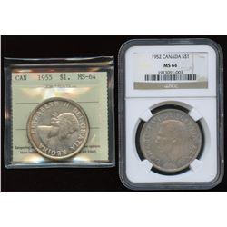 1952 & 1955 Silver Dollars
