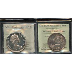 Silver Royal Visit Medallion, 1939 & Silver Dollar, 1967