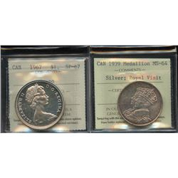 Silver Royal Visit Medallion, 1939 & Silver Dollar, 1967