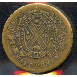 Br. 524. Bank of Montreal Sideview Halfpenny, 1838