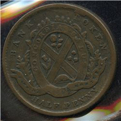 Br. 524. Bank of Montreal Sideview Halfpenny, 1839
