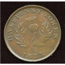 Nova Scotia. Br. 871, Co 278. Counterfeit Halfpenny.