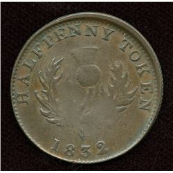 Nova Scotia. Br. 871. Co. 278. Off-centre. Counterfeit Halfpenny,