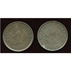 Nova Scotia. Corrected Date. Br. 871, Co 281,  Counterfeit Halfpennies. Lot of 2