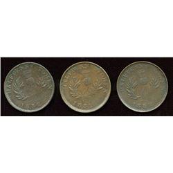 Nova Scotia. Corrected Date, Br. 871, Co 281, Counterfeit Halfpennies. Lot of 3