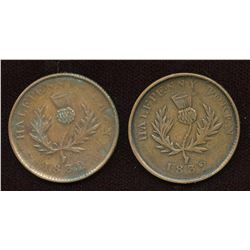 Nova Scotia Counterfeit Halfpennies, Br. 871 Tokens. Lot of 2