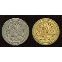 C. Schmidt Tokens.  Lot of 2