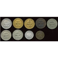 Post Confederation Tokens. Lot of 9