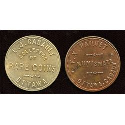Ontario Numismatist Tokens. Lot of 2