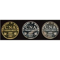 Personal CNA President's 2007 Presentation Medals - Lot of 3