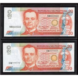 2009 Philippines $20 Solid Radars - Lot of 2