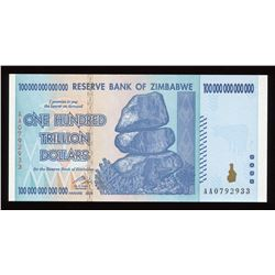 2008 Reserve Bank of Zimbabwe 100 Trillion Dollars