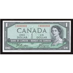 Bank of Canada $1, 1954 Radar - One Digit