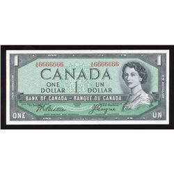Bank of Canada $1, 1954 Radar - One Digit