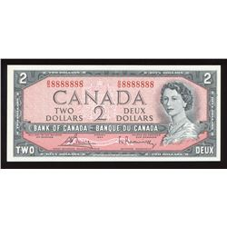 Bank of Canada $2, 1954 Radar - One Digit