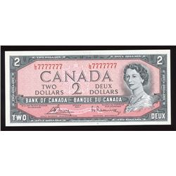 Bank of Canada $2, 1954 Radar - One Digit