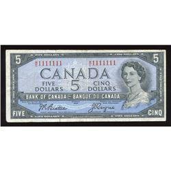 Bank of Canada $5, 1954 Radar - One Digit