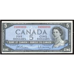 Bank of Canada $5, 1954 Radar - One Digit