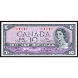Bank of Canada $10, 1954 Radar - One Digit Devil's Face