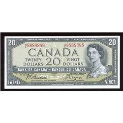 Bank of Canada $20, 1954 Radar - One Digit