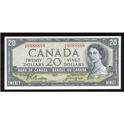 Bank of Canada $20, 1954 Radar - One Digit