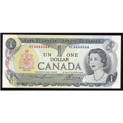 Bank of Canada $1, 1973 Radar - One Digit