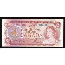 Bank of Canada $2, 1974 Radar - One Digit