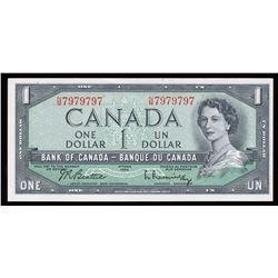 Bank of Canada $1, 1954 Radar - Two Digits
