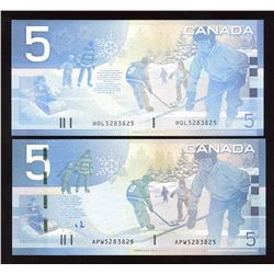Rare Matching Number Consecutive Set - Bank of Canada $5, 2005 & 2008 Matched Number Radar Set